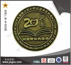 铜质纪念徽章定做,毕业20周年纪念章
