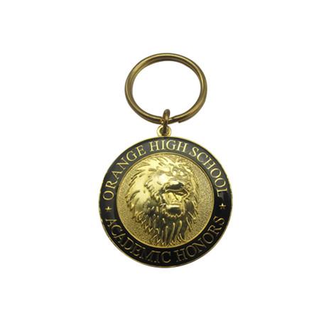 铜质立体镀真金珐琅钥匙扣