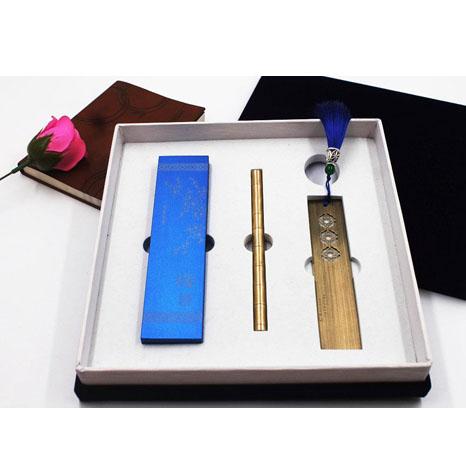 铝纸镇+纯铜笔+书签套装定做工厂