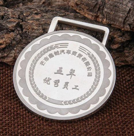 云南五年优秀员工纯银奖牌制作商