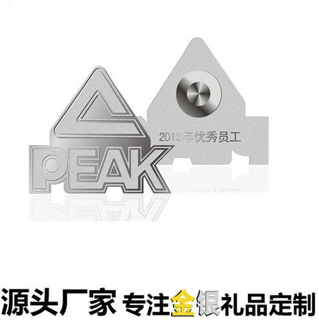 公司年会优秀员工颁奖纯银徽章生产厂家